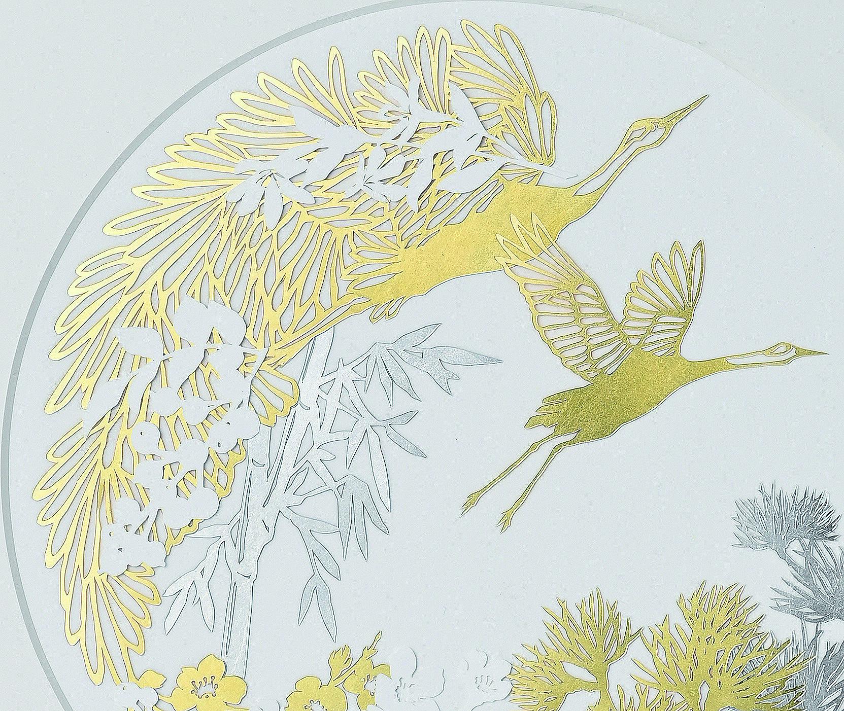 縁起の良い鶴と松竹梅をモチーフ「金箔/プラチナ箔アート額 双鶴」が発売(ギンザタナカ)